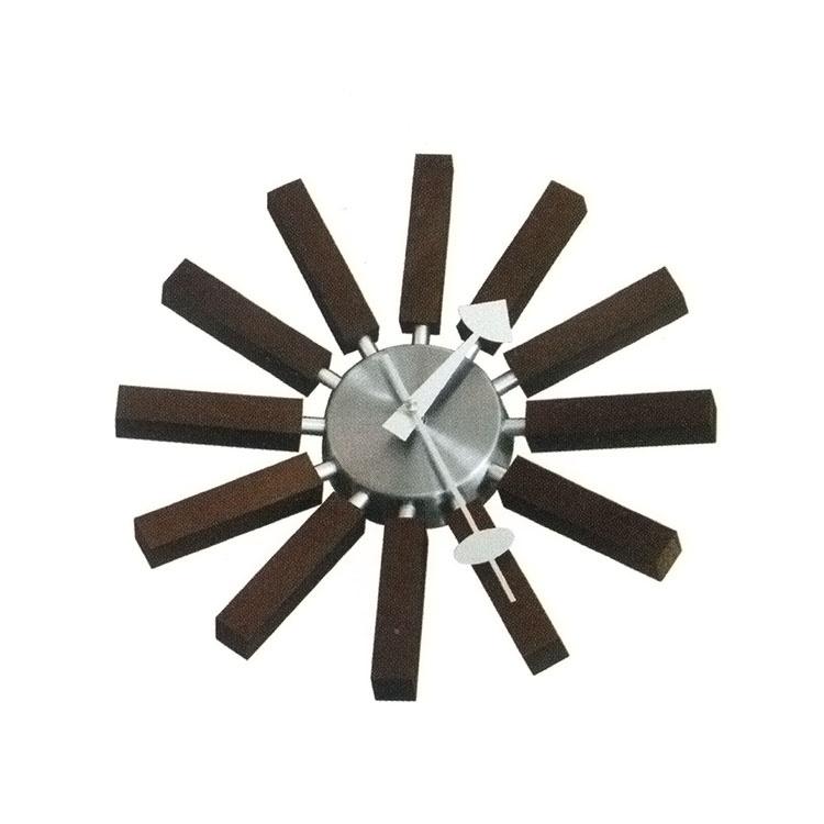 George Nelson Inspired Wooden Spoke Clock Walnut
